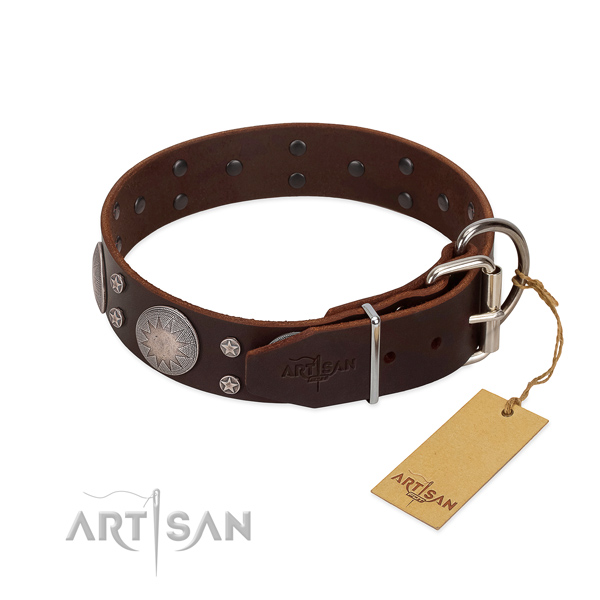 New leather dog collar with adjustable construction