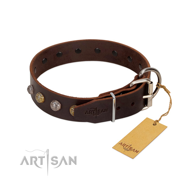 Walking Genuine Leather Dog Collar for Better Control