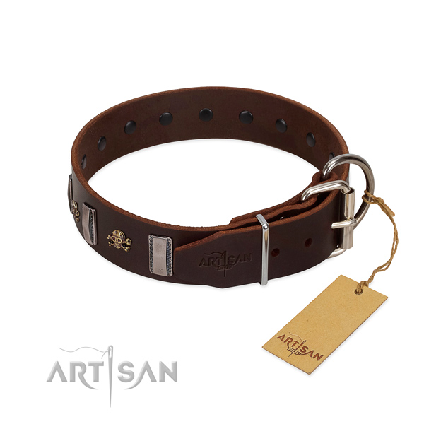 Leather dog collar with reliable buckle