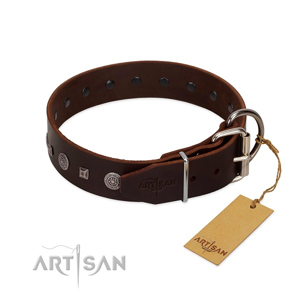 Comfortable leather dog collar for safe usage