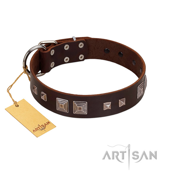 Handmade FDT Artisan leather dog collar for comfortable