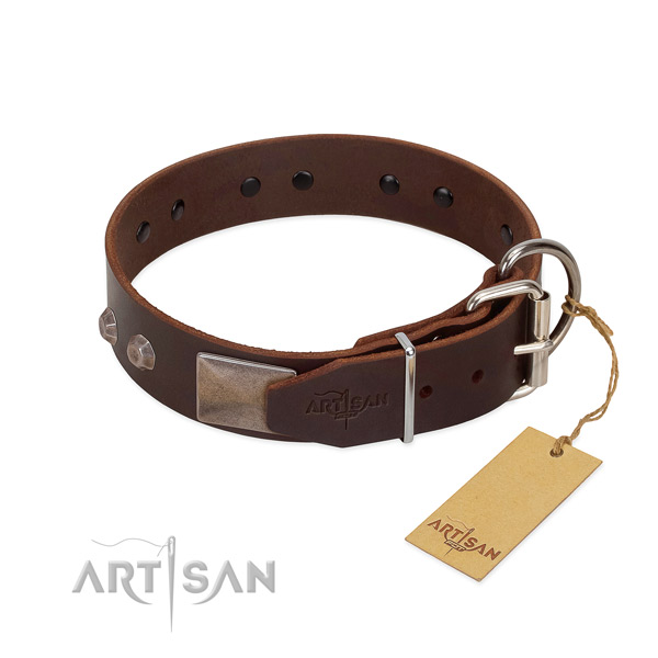 Reliable leather dog collar won't cut into skin