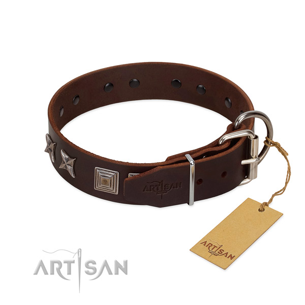 Pleasant to wear leather dog collar for your best pet