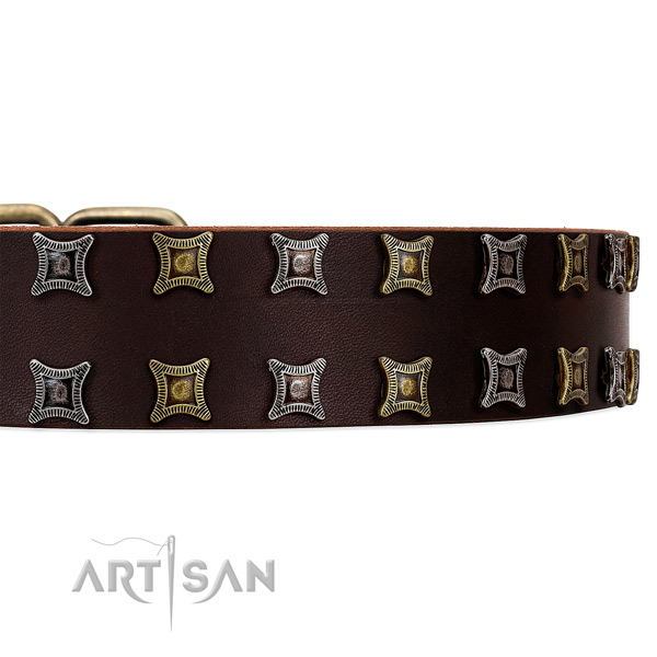 Amazing brown leather collar with two rows of gorgeous