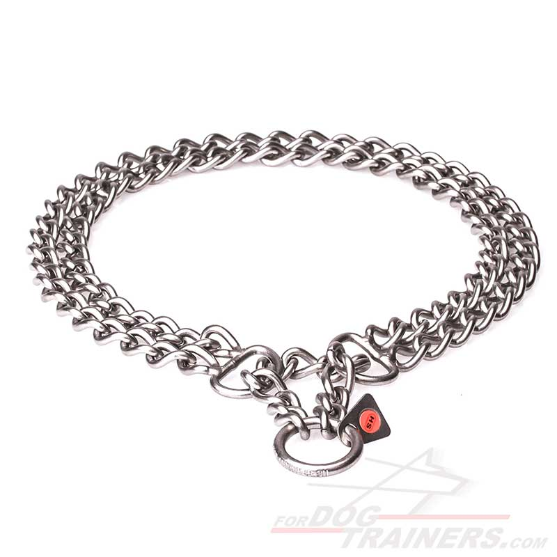 """""""Double Chain"""" Brushed Stainless Steel Dog Collar with 1/9 ..."""