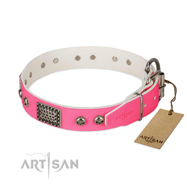 Chrome Decorative Parts on Pink Dog Collar