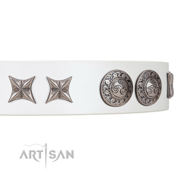 White Leather Dog Collar with Ebgraved brooches and Stars