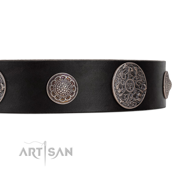 Black leather dog collar with riveted ornate brooches