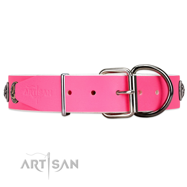 Leather dog collar with chrome plated hardware