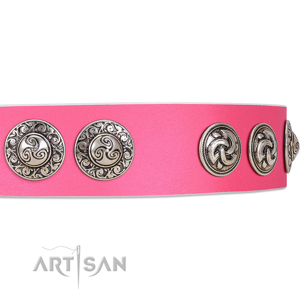 Begulling pink leather dog collar with engraved