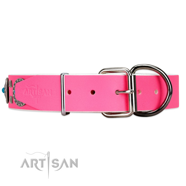 Pink leather dog collar with old silver-like hardware
