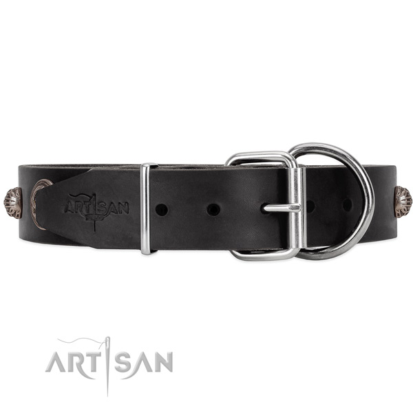 Unique style black leather dog collar with tough