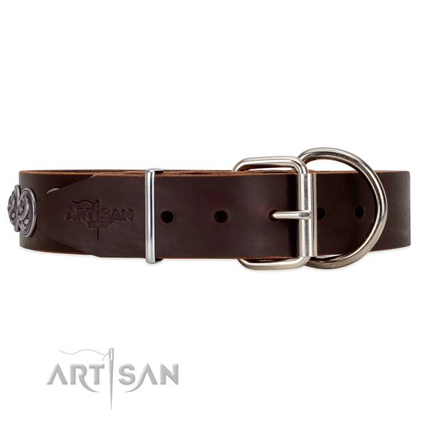 Deluxe FDT Artisan brown leather dog collar with