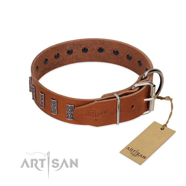 Pleasant to wear leather dog collar won't cut into skin