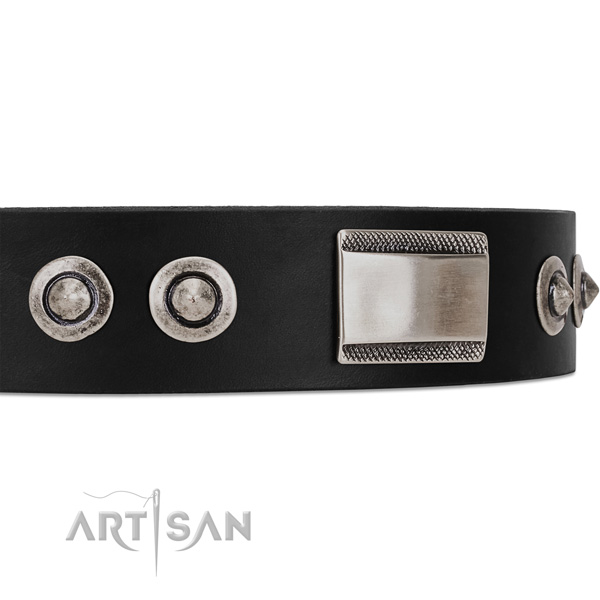 Black dog collar with large plates and spiked studs