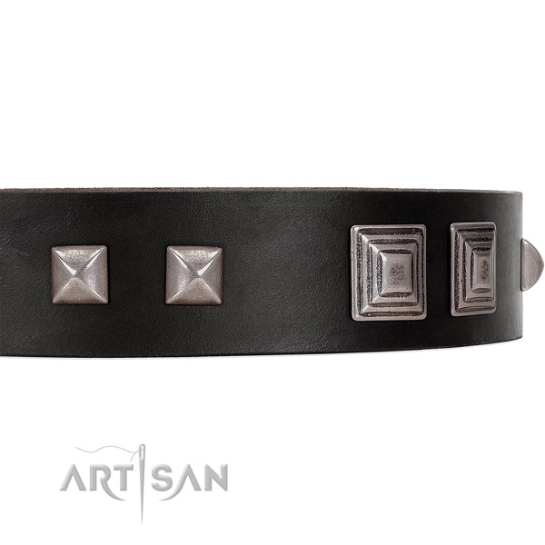 FDT Artisan black leather dog collar with square studs and pyramids