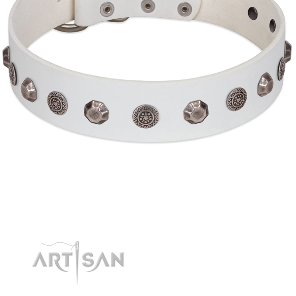 White leather dog collar with exquisite adornments