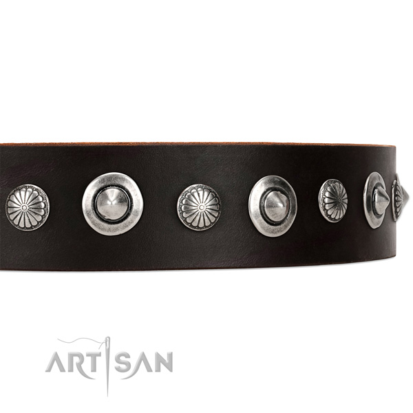 Dainty Leather Dog Collar with Shiny Brooches