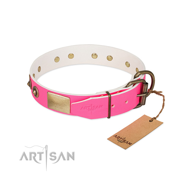 Handy Leather Dog Collar with Easy-to-adjust Buckle