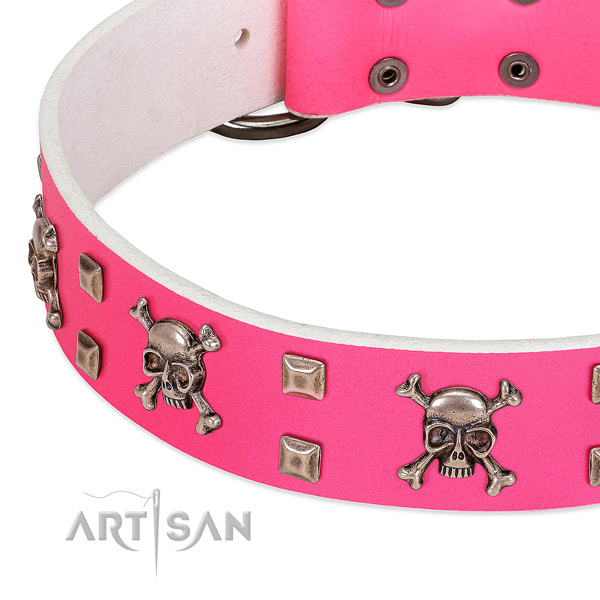 Pink leather dog collar with modern cool decorations