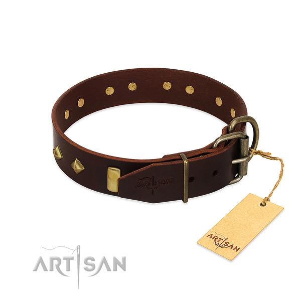 Adjustable leather dog collar for comfortable daily outing
