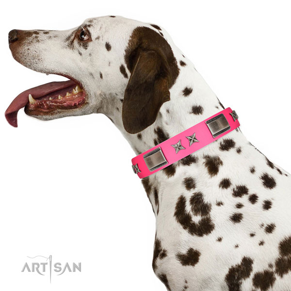 Pink Dalmatian collar made of gentle to the touch leather