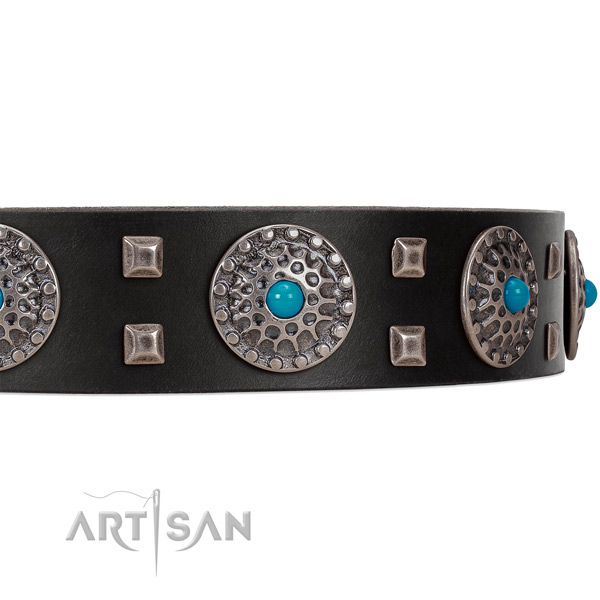Elegant black leather dog collar with chic decorations