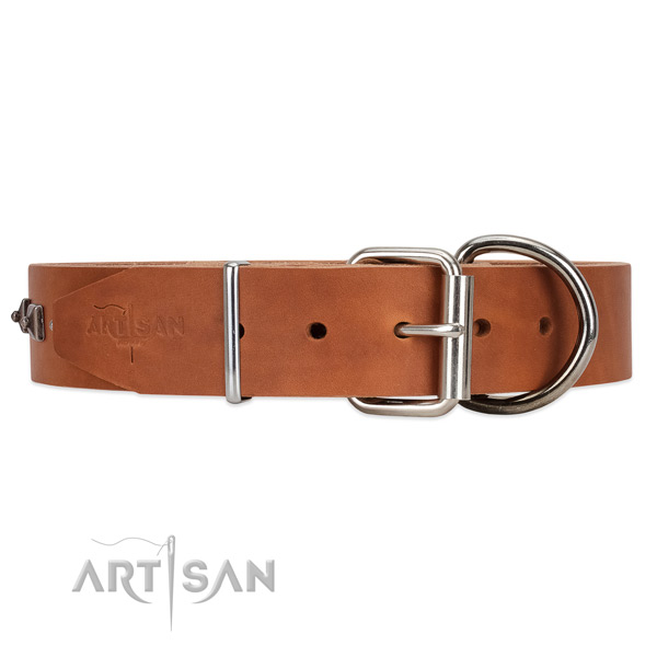 Deluxe style tan leather collar with extra durable hardware