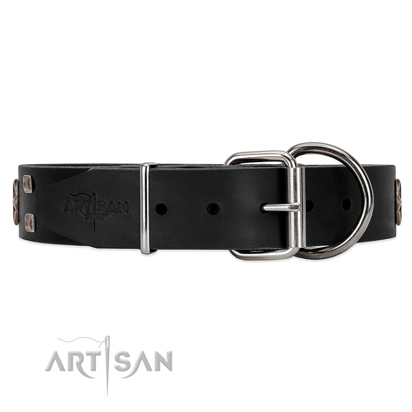 Wear-proof leather dog collar with belt-like buckle