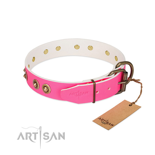 Pink Leather Dog Collar for Stylish Control
