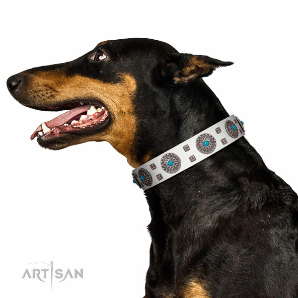 One and only white leather Doberman collar with deluxe
