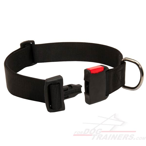 Dog Collar Nylon Adjustable Strap with Plastic Buckle
