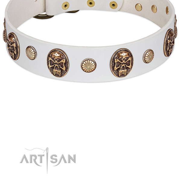 White Dog Collar with Old Bronze-like Plated Skulls and Studs