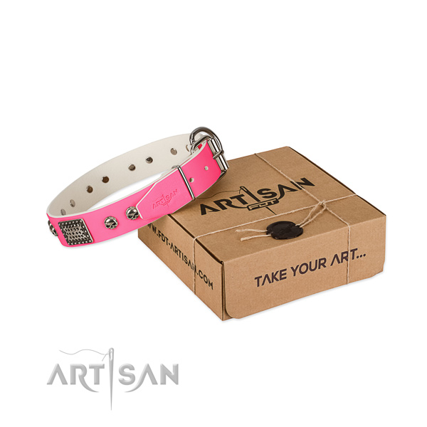Pink Top Quality Dog Collar of Artisan Design
