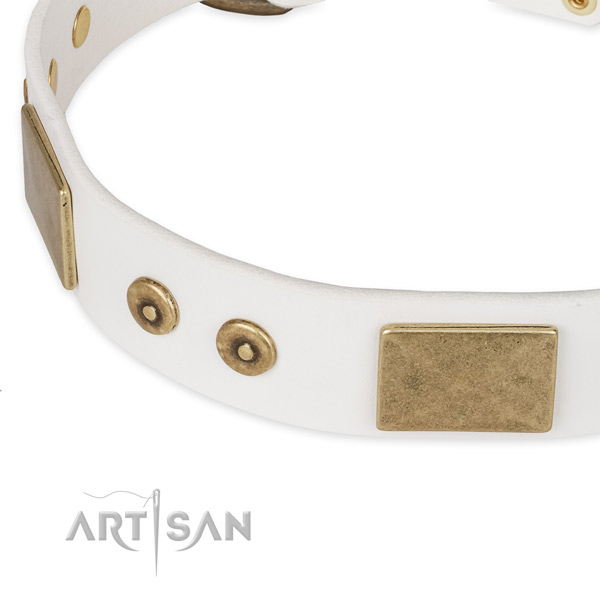 Decorative Leather Dog Collar of White Color