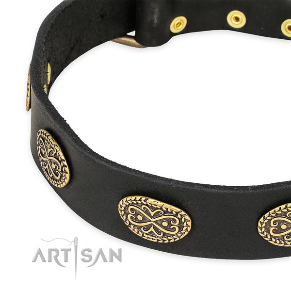 Natural Leather Dog Collar with Fancy Decorations