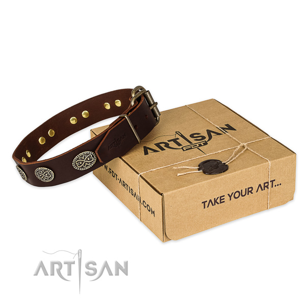 Designer Brown Leather Decorated Dog Collar