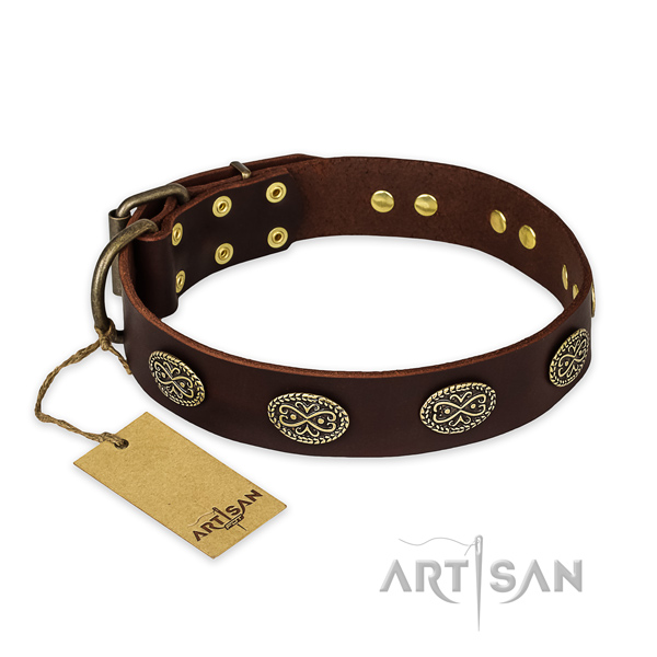 Brown Leather Dog Collar with Ornamented Decorative Ovals