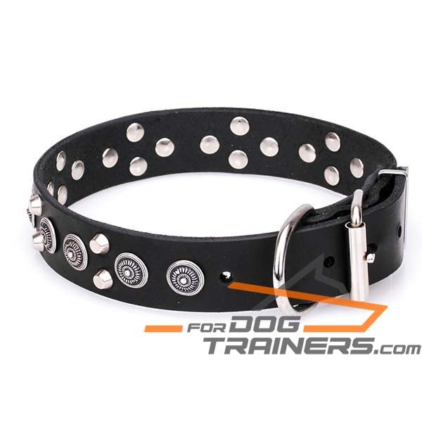 Dog Leather Collar with D-ring for Leash