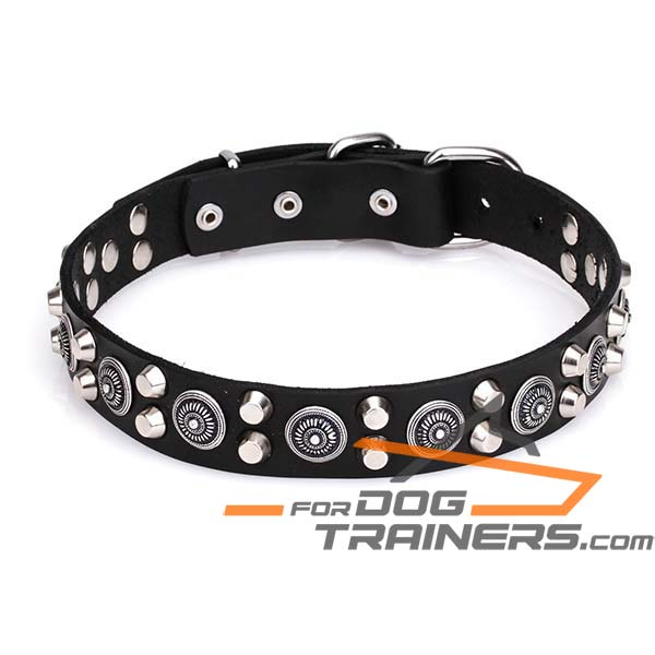 Dog Leather Collar with Cones and Circles