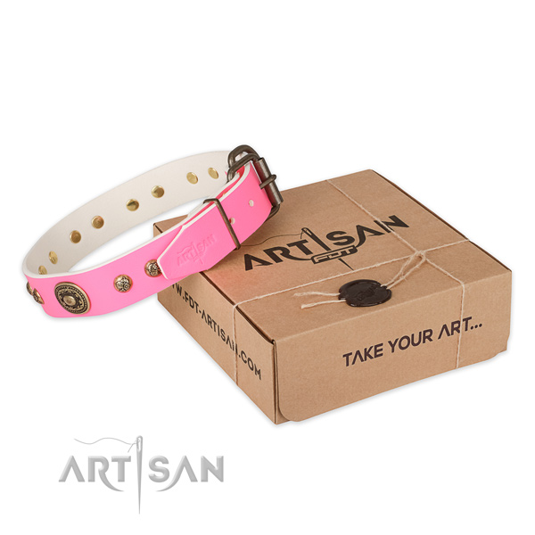 Stylish Pink Leather Dog Collar