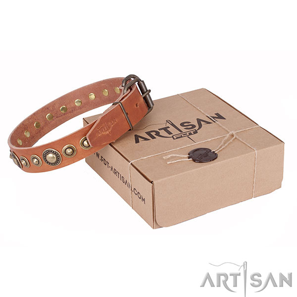 Tan Leather Artisan Dog Collar with Old Bronze Look Hardware