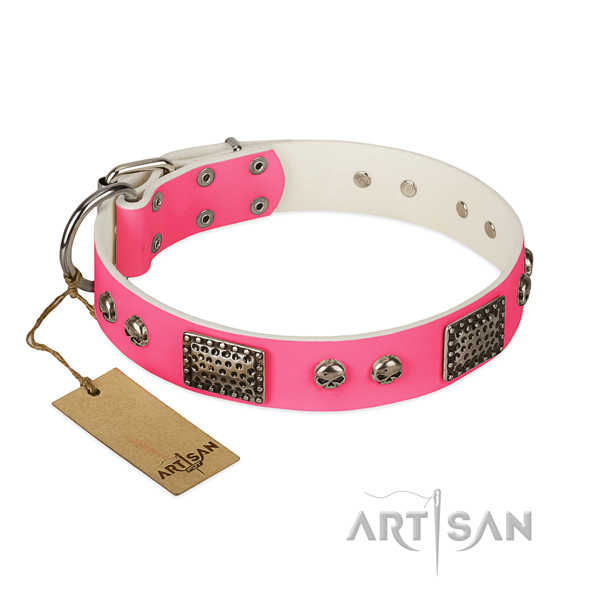Pink Top Quality Leather Dog Collar of Fashionable Design