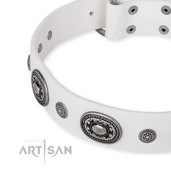 White Leather Artisan Dog Collar with Old Silver Look Hardware