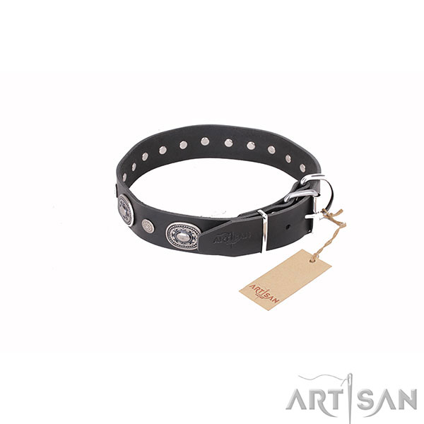 Fashionable Leather Dog Collar with Chrome Plated D-Ring