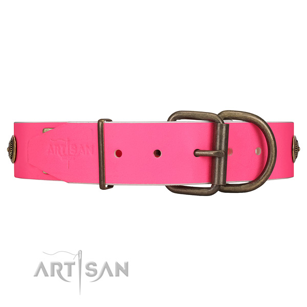 Strong Corrosion-proof Buckle on Pink Leather Dog Collar