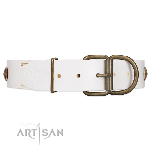Strong Corrosion-proof Buckle on White Leather Dog Collar