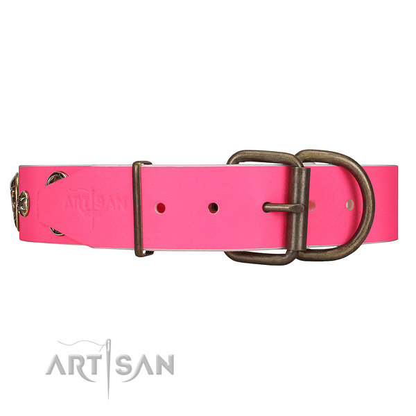 Strong Rust-proof Buckle on Pink Leather Dog Collar