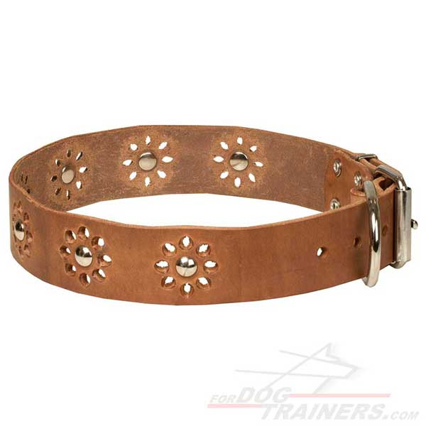Dog Leather Collar with Flower Studded Decoration