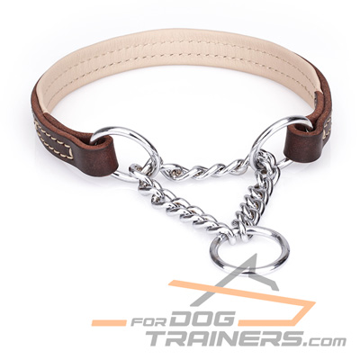 Brown Nappa Padded Leather Choke Collar